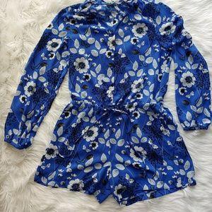 Fleur Bleue Long Sleeve Floral Romper